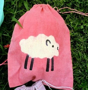 FREE SHIPPING batik PINK SHEEP mini 8x10 drawstring bag great for spinners knitters gifts