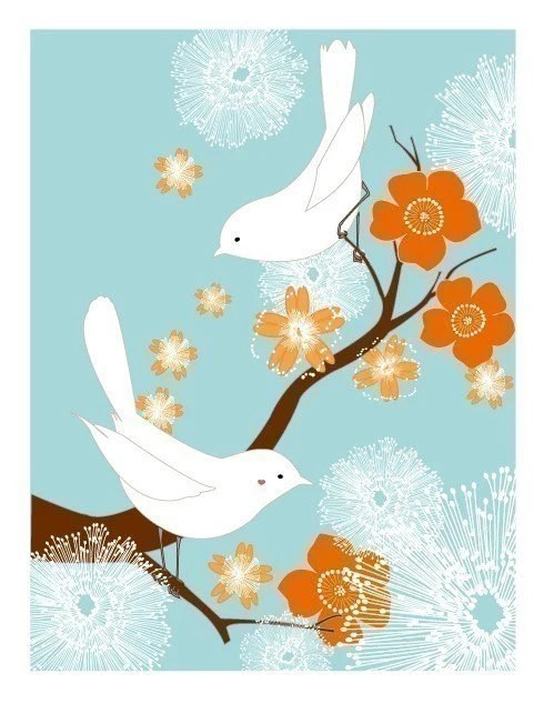 White Love Birds (blue/orange)