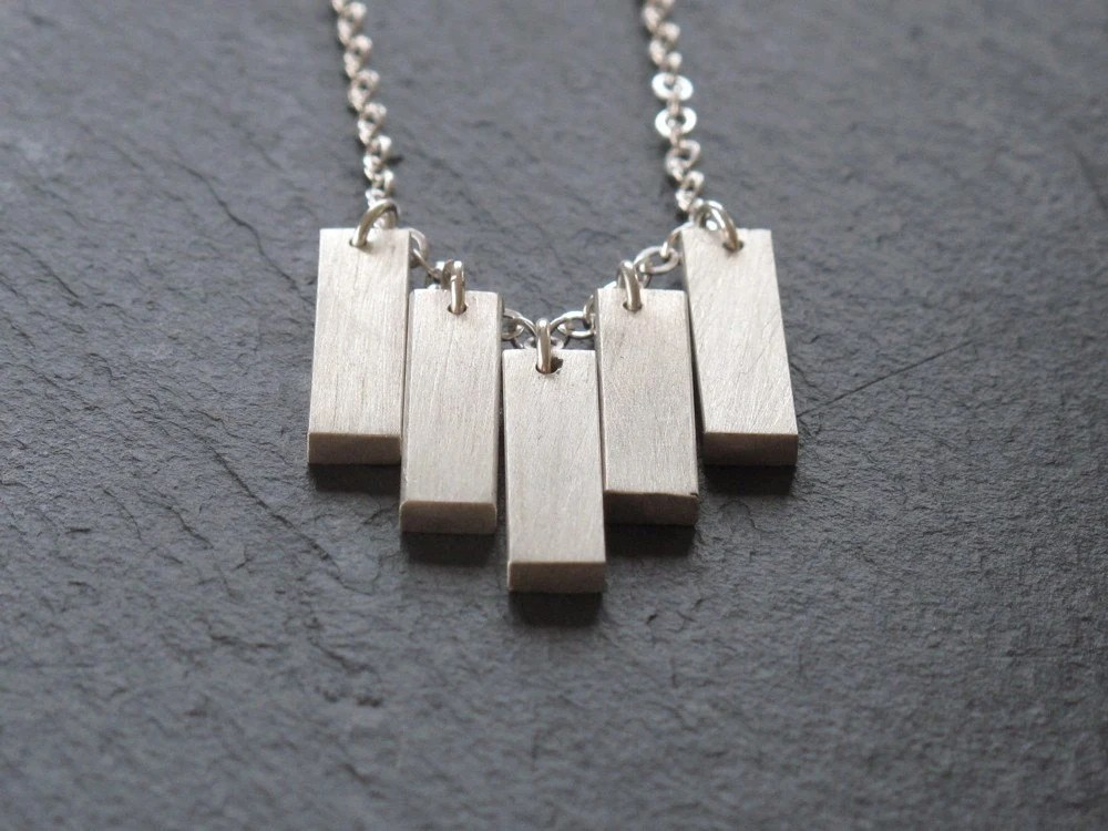 Sterling Silver Bars Necklace