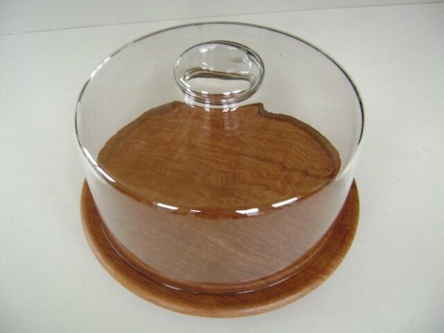 Danish Modern Style Wood Glass Cake Plate