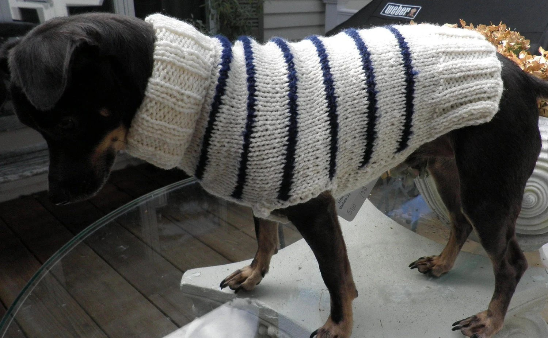 Emilio Poochi White and Navy Sweater