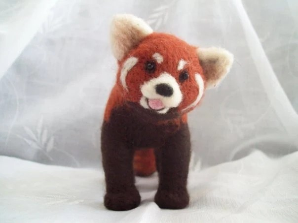 red panda, needle felted, novembrin, etsy