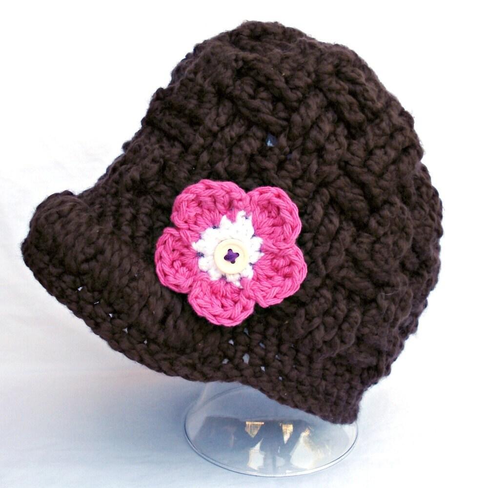 organic cotton cocoa brown brim beanie newsboy hat