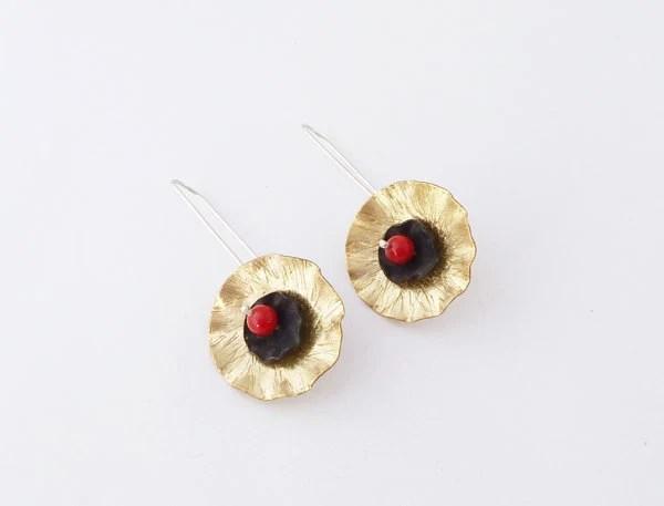 poppy earrings brass