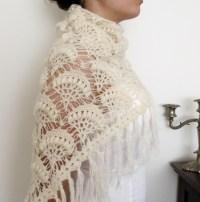 Crochet Pattern For Winter Wedding Shawl ~ Dancox for