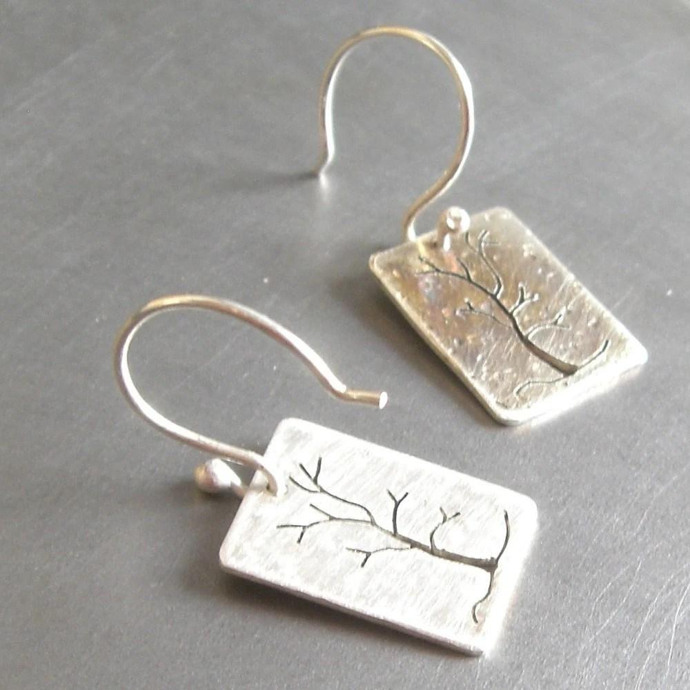 Reversible Small Silver Blizzard Tree Earrings
