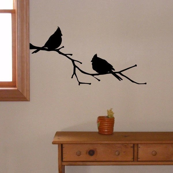 Cardinal Birds on a Branch, vinyl wall decal