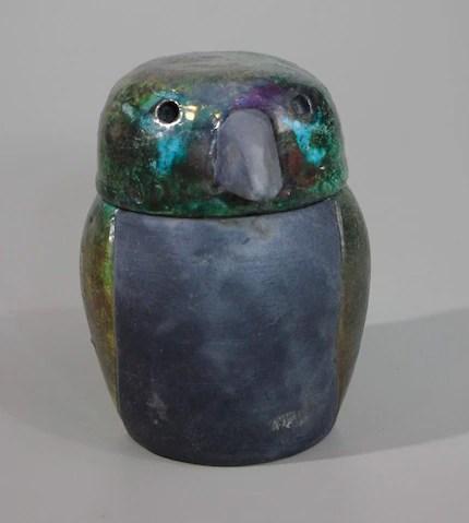 Raku Hawk Canopic Jar