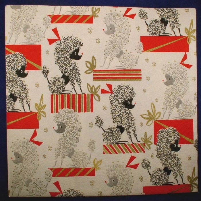 Stylized POODLE Gift Wrap Vintage Wrapping Paper - Black and Silver Girls