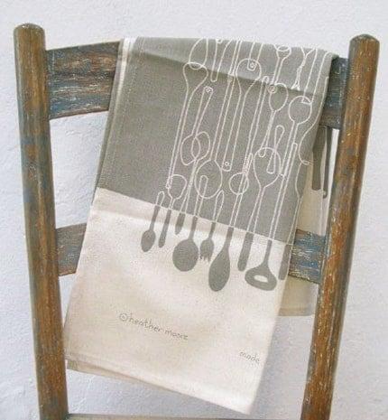 Borrowed Spoons tea towel in stone