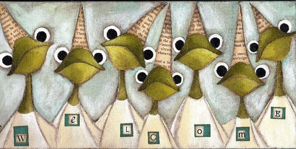 Print of my original folk art mixed media painting - Welcome Frogs
