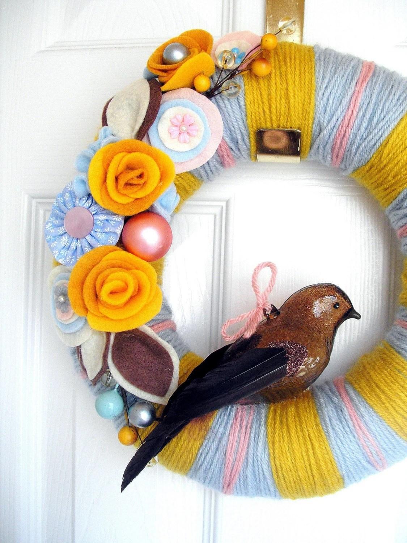 Mustard and Blue Yarn Wreath