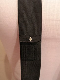Vintage 1960s Black Mens 'Skinny' Necktie with Diamond Stitching
