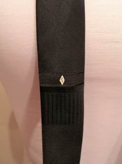Vintage 1960s Black Mens 'Skinny' Necktie with Diamond Stitching