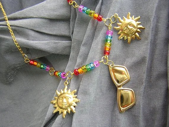 Rainbow Summer Sun Beaded Necklace with Sun and Sunglasses Charms Handmade by Rewondered