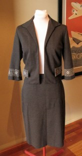 Vintage Late 1950s Charcoal Grey Suit with Embroidery
