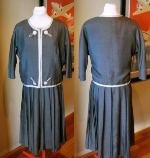 Vintage 1950s Silk Jacket and Dress Suit by Miss Elliette