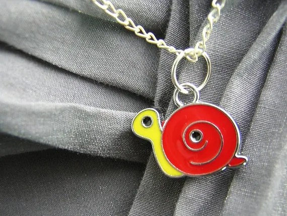 Red and Yellow Snail Enamel Simple Charm Necklace on Silver Chain - Handmade by Rewondered D225N-00928 - $7.95
