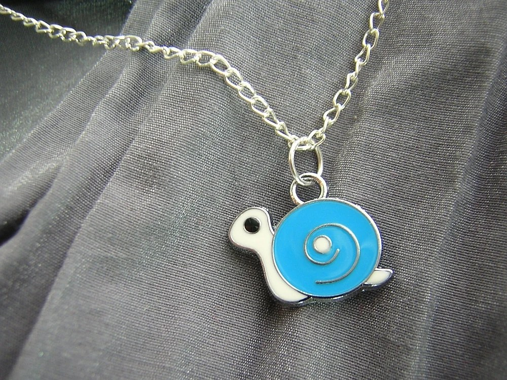 Blue and White Snail Enamel Simple Charm Necklace on Silver Chain - Handmade by Rewondered D225N-00978 - $7.95