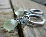Spring Rain - Prehnite, Paraiba Topaz, Aquamarine, Oxidized Sterling Silver