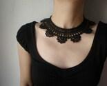 Black Lace - Viola Sororia .... Beaded Crochet Necklace - Flowers