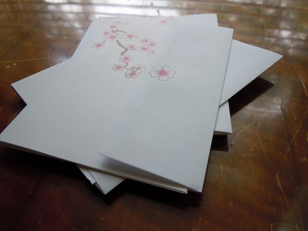Set of 10 Japanese Cherry Blossom Blank Cards