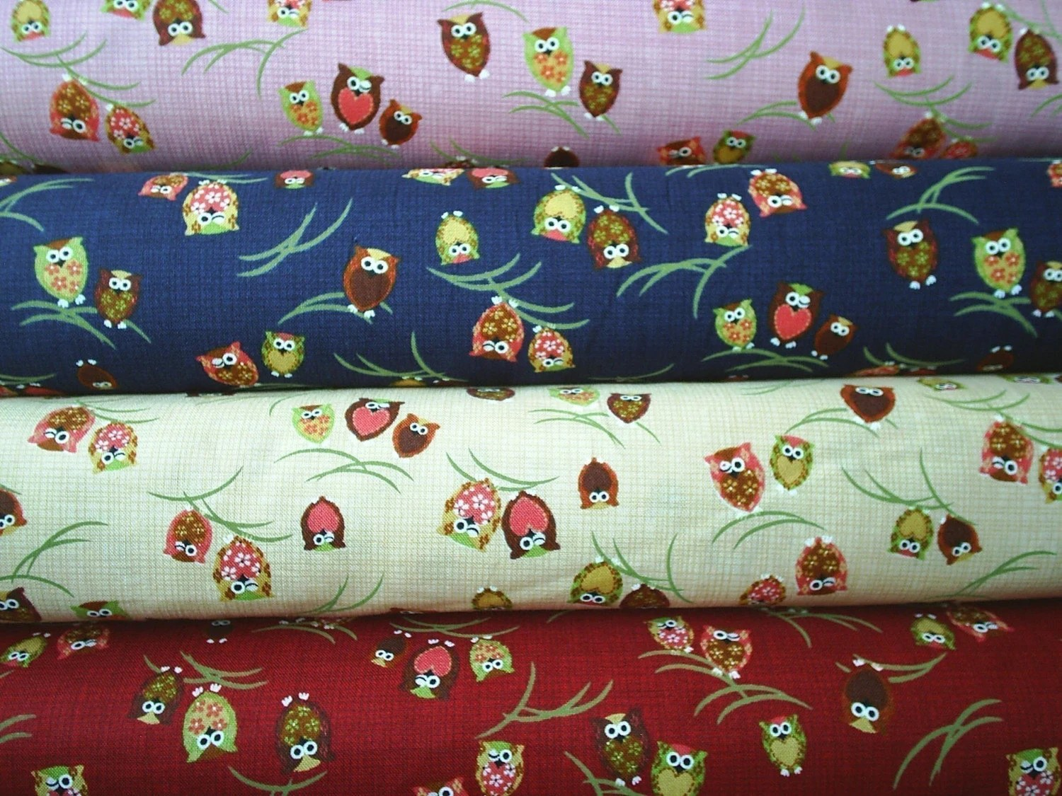 SALE/ Mini Owls Fabric Set (4 fat quarters, 1 per color)
