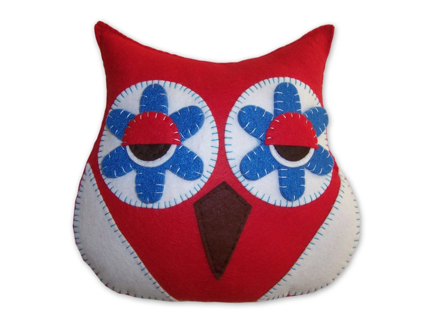 red blue and white owl plush toy