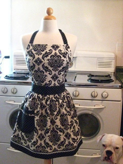 The FAMOUS CHLOE Vintage Inspired Black and White Damask Full Apron