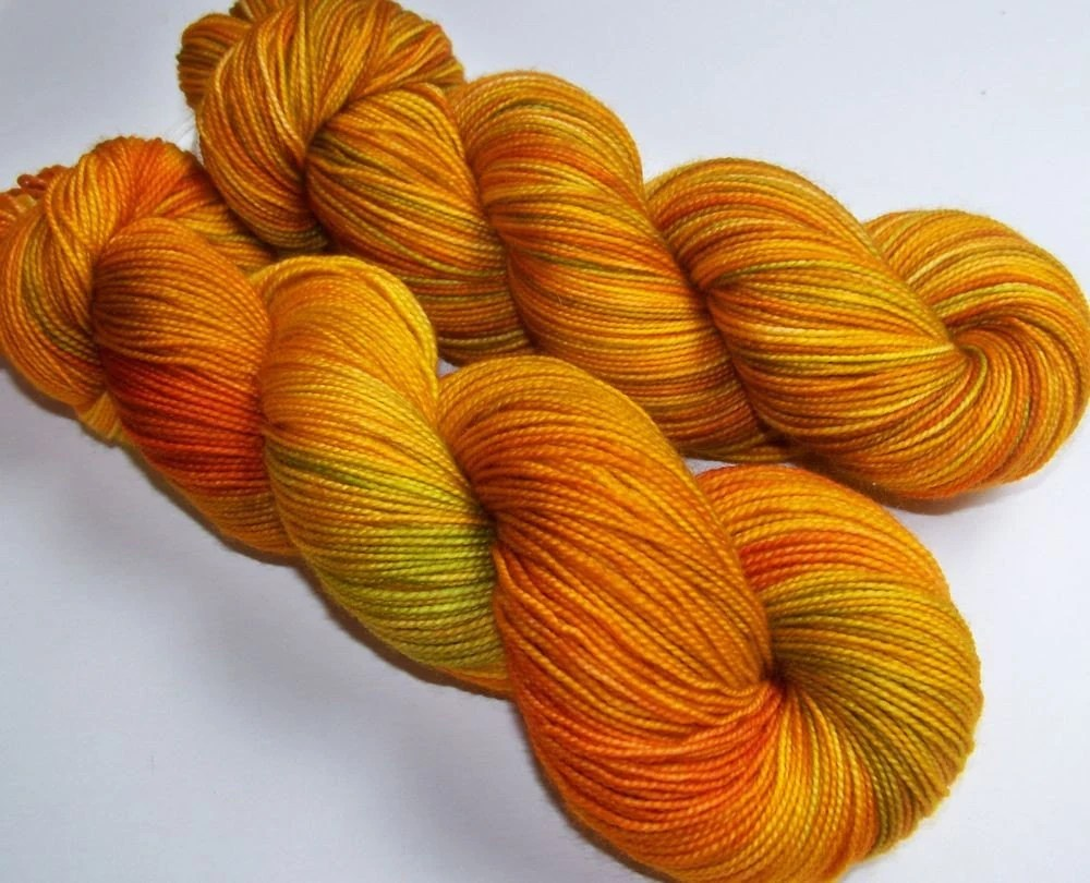 Hand Painted 2-Ply Superwash Merino Sock -- Saffron Sari (105grams)