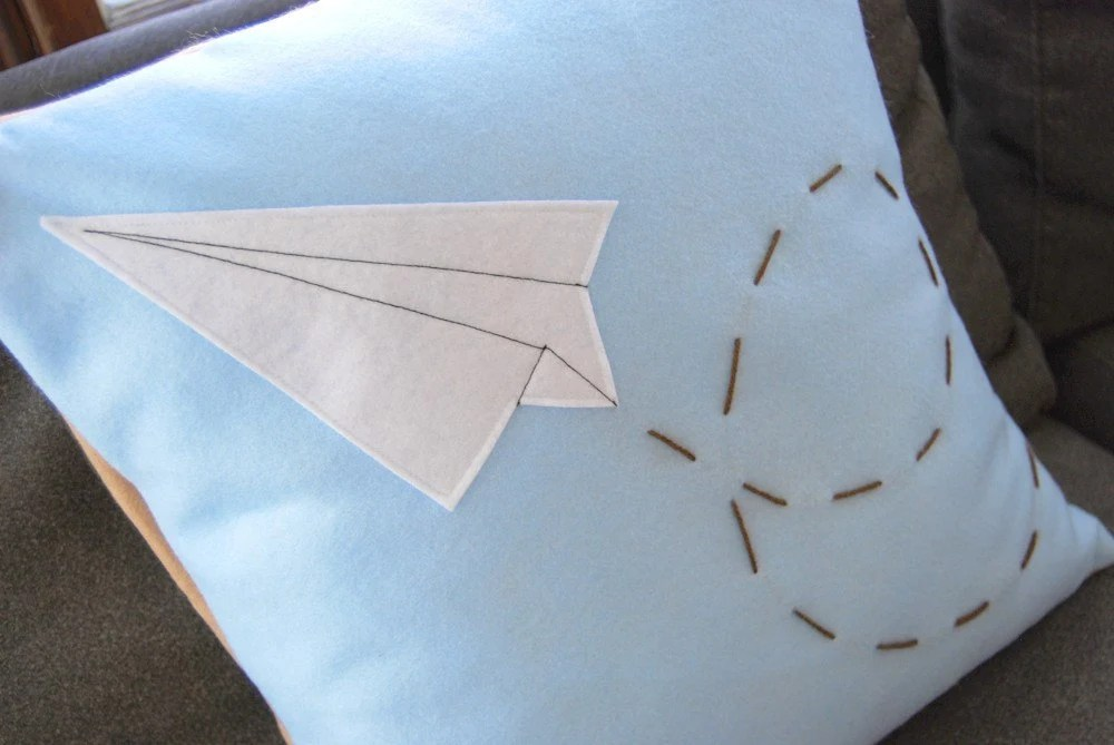 Paper Airplane Pillow-  Eco Friendly