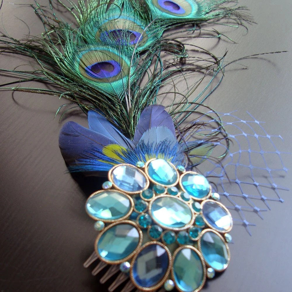 Peacock Bridal Fascinator - Ethical Feathers - Jewel Blue