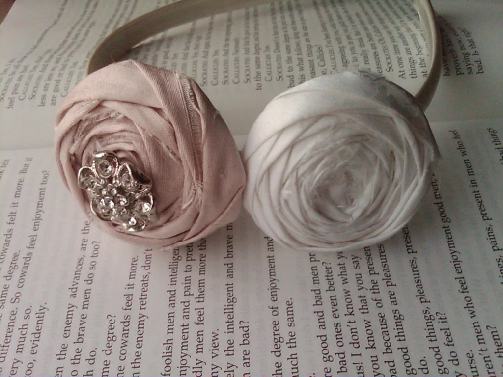 PINK Breast Cancer Awareness Rosette Headband Duo with Vintage Jeweled Accent