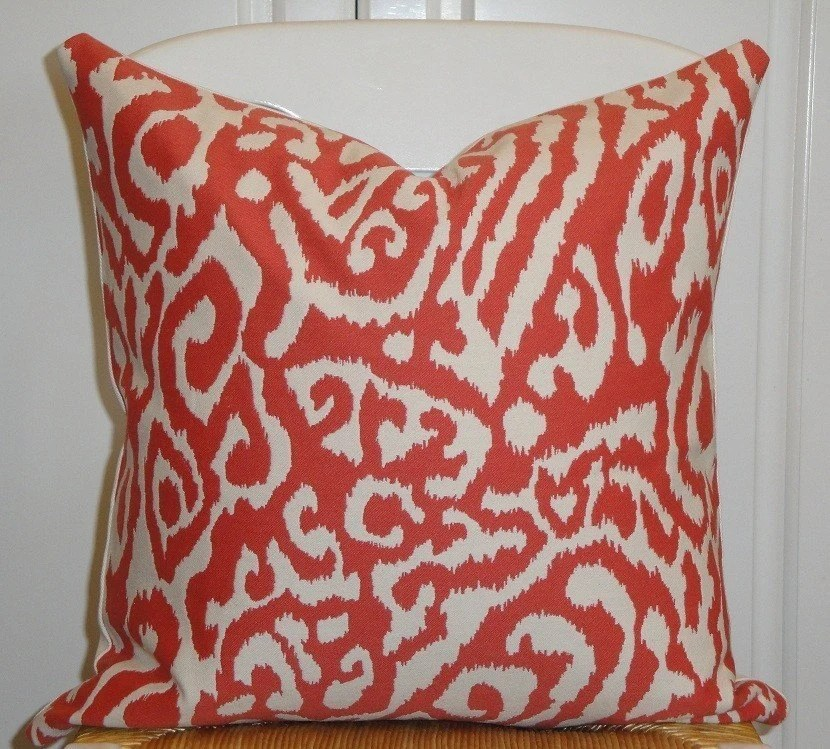 Beautiful Decorative Pillow Cover 18 x 18 INCH - Designer Fabric -  ANIMAL PRINT - Throw Pillow - Accent Pillow - Persimmon