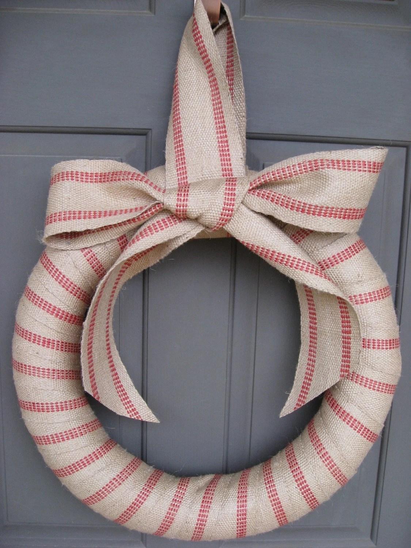Homespun Christmas Wreath - Earthy Jute Burlap - Large Organic Door Wreath