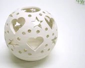 Natural Pure Love.... ETSY EXCLUSIVE.....The Original Heart Candileria ceramic candle holders