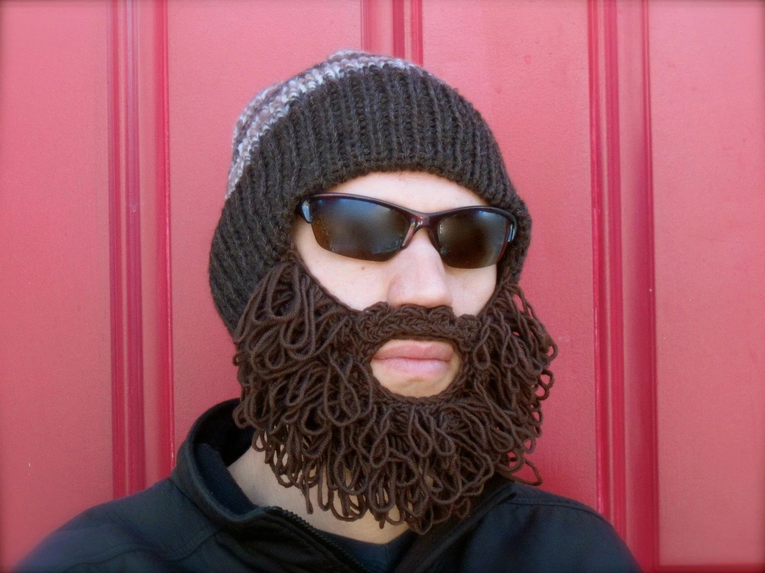 shaggy bearded stocking hat - superwash wool hat with extra fine merino wool beard