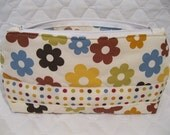 Mod Flowers / Polka Dots Make-Up Bag / Travel Bag