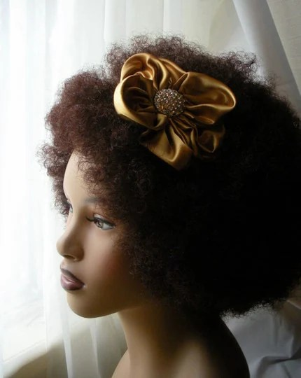 Afrique Elegance Satin Flower Headband,...Gold