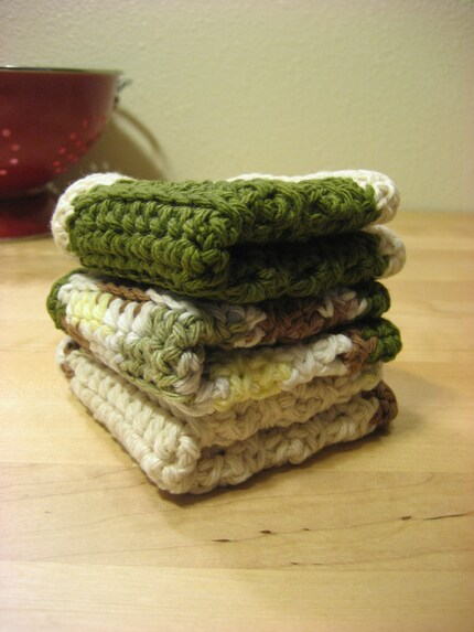 Eco Crocheted Dish Towels in Asparagus (set of 3)