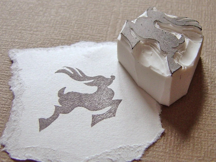 mod christmas reindeer - hand carved stamp