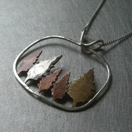 Mixed Metal Conifer Forest Pendant by Beth Millner