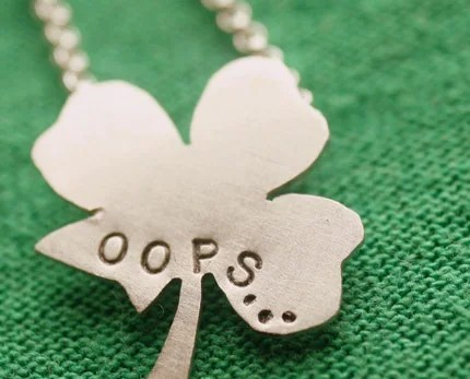 Sterling Silver Almost Four Leaf Clover Mini Necklace - Just My Luck