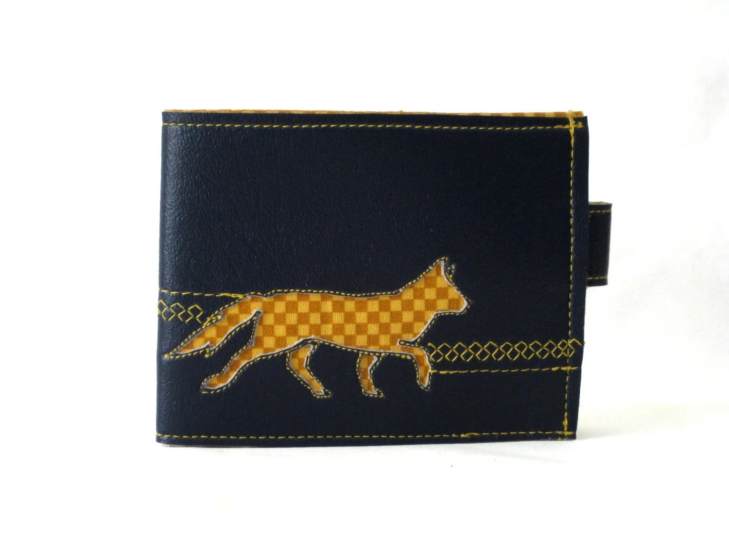 Yellow Checkered Fox Vinyl Wallet
