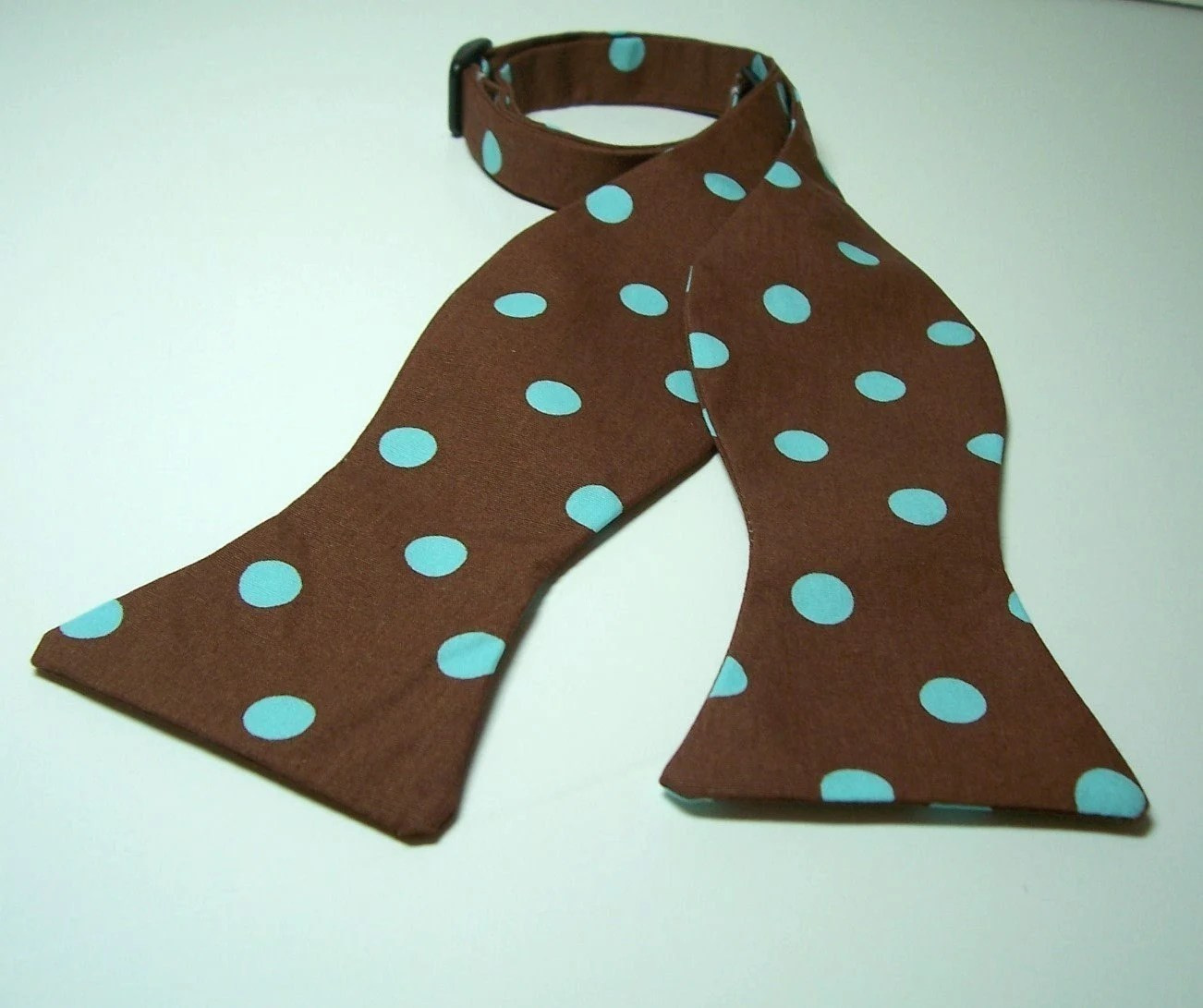 Freestyle Bow Tie for Men Chocolate Blue Dots