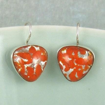 Sterling Silver Vintage Glass Earrings 383