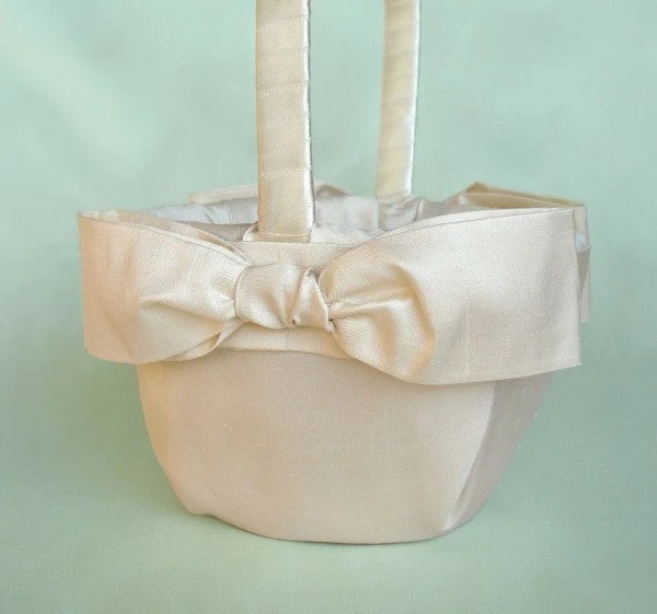 White or Ivory Sash Bow Flower Girl Basket