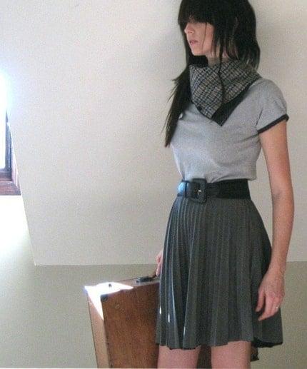 Aviator  flight shirt - grey jersey scarf cowl - small