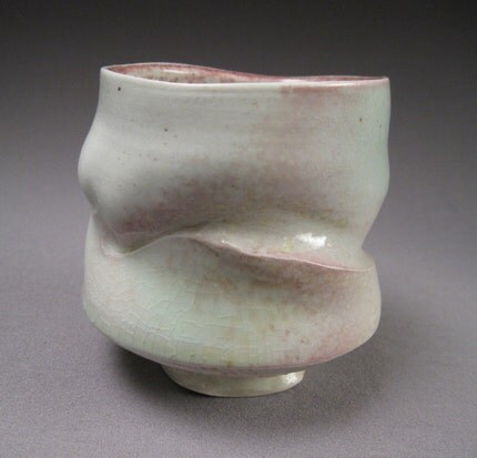 pink and green soda/salt fired yunomi