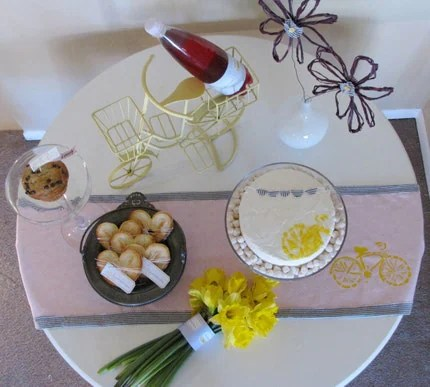 Vintage yellow bike table runner